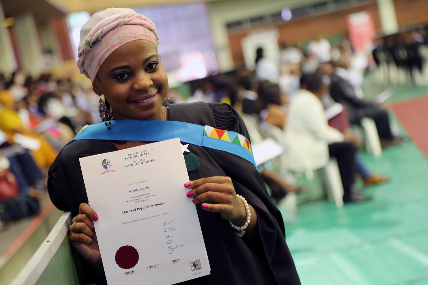 Masters in Populations Studies graduate Ms Bontle Segobe.