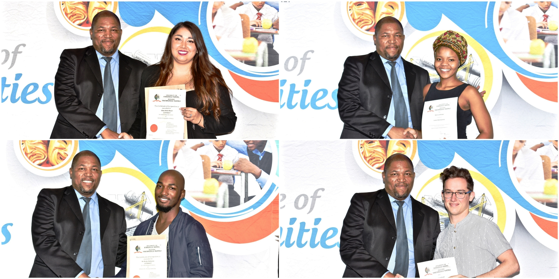 High achievers from the School of Built Environment & Development Studies. Clockwise from left: Ms Eliza Solis-Maart, Ms Lerato Moshoeshoe, Mr Mcebo Mafoyana and Mr Daniel Daruty De Grandpre