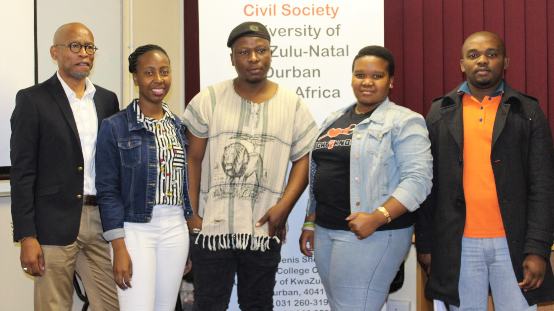 Speakers at the CCS Young Civil Society event are from left: Dr Koyi Mchunu, Ms Lerato Malope, Mr Thobani Zikalala, Ms Philisiwe Mazibuko and Mr Nduduzo Majozi.