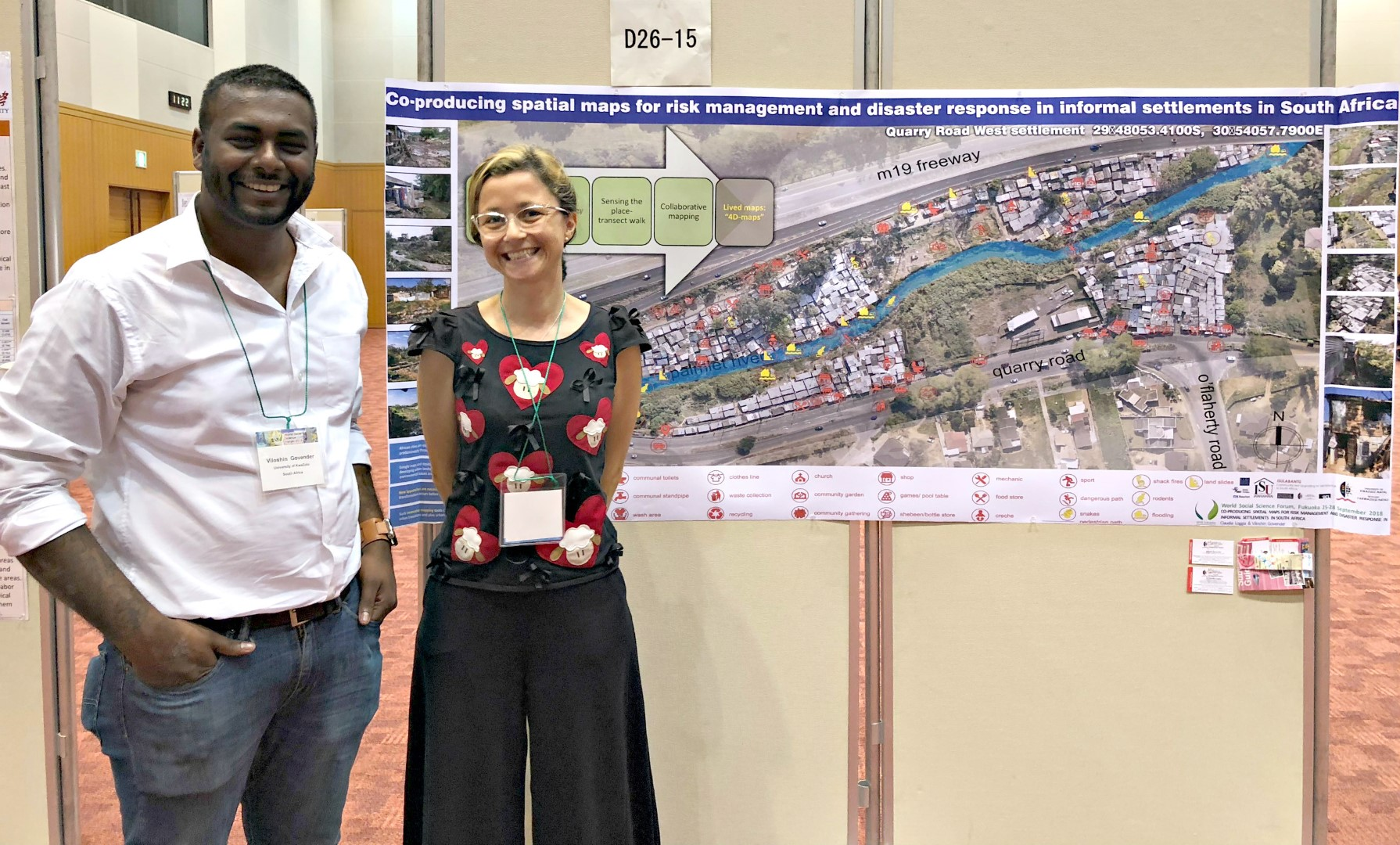 Mr Viloshin Govender and Dr Claudia Loggia seen with their research poster at the World Social Science Forum.