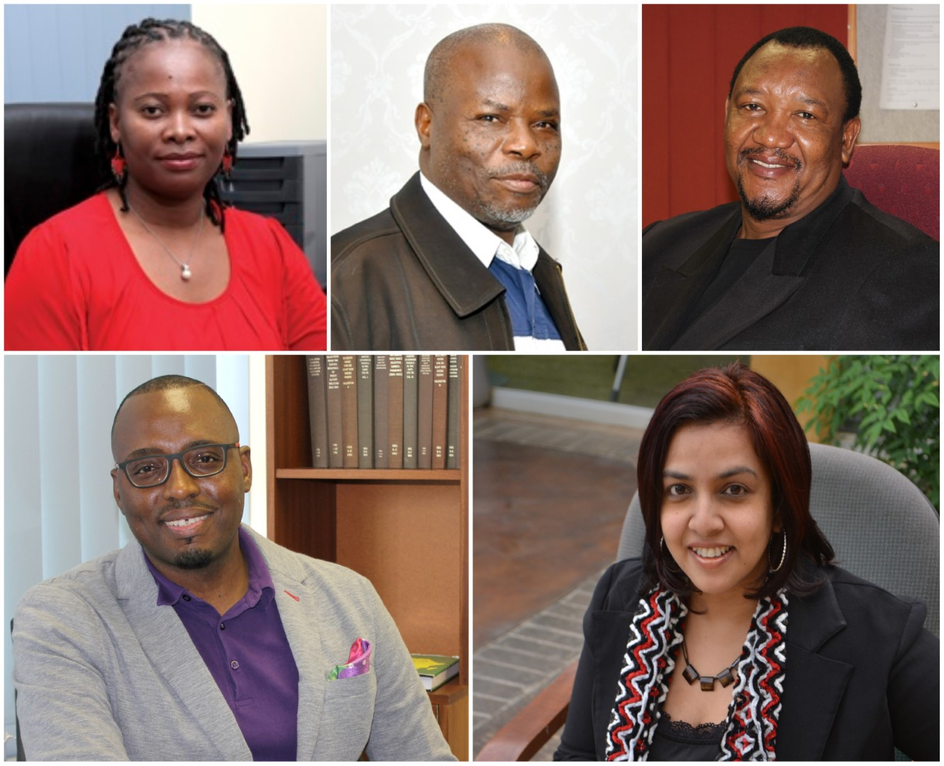 UKZN Academics heading the two Mellon Projects are clockwise from left: Professors Nobuhle Hlongwa, Stephen Mutula, Nogwaja Zulu, Maheshvari Naidu and Ernest Khalema.