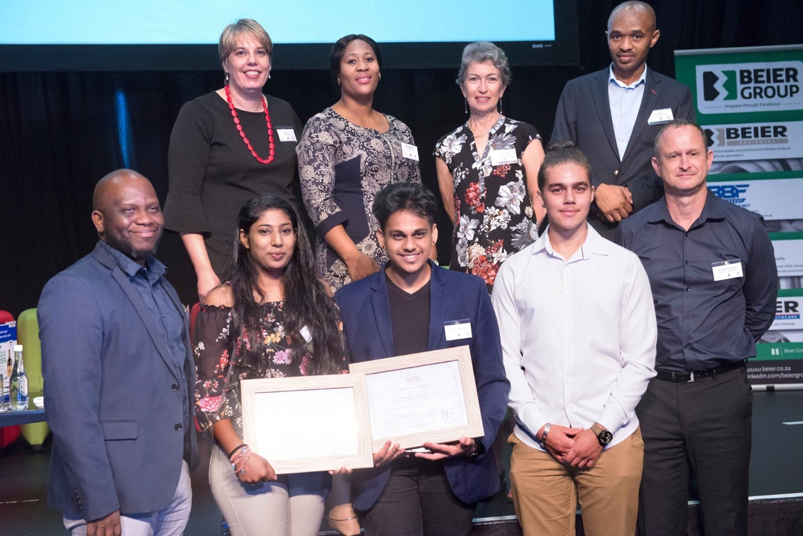 Architecture lecturer Mr Lawrence Ogunsanya, front row extreme left, with Architecture design competition winners Ms Katelyn Gopaul, Mr Kreolin Naicker and finalist Mr Liam Pio Esau.