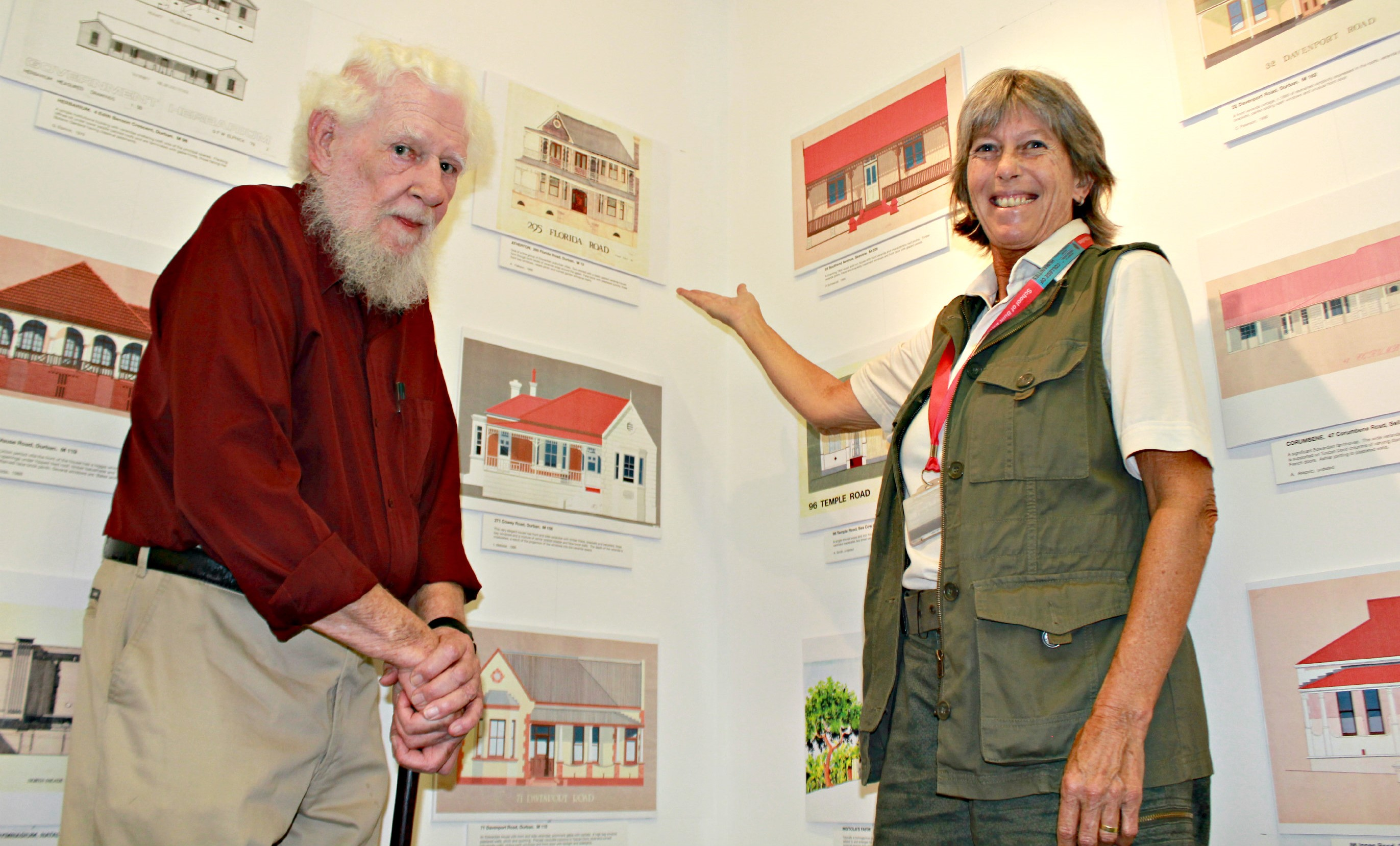 Professor Brian Kearney and Ms Michele Jacobs with some of the drawings and work from the UKZN architecture archives that feature in The Berea Style publication.